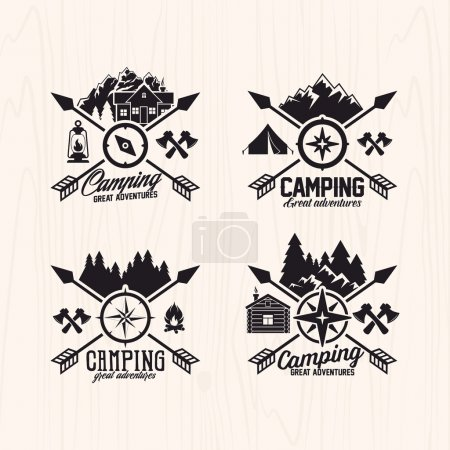 Illustration for Summer camp badges logos and labels for any use, on wooden background texture - Royalty Free Image