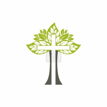 Church logo. Christian symbols. Wood cross.