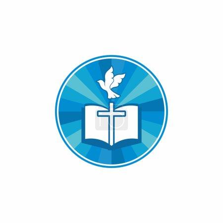 Church logo. Christian symbols. Holy bible, cross and dove.