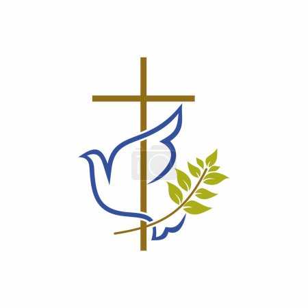 Church logo. Christian symbols. Cross, dove and olive branch.