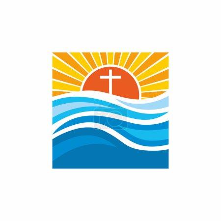 Logo church. Christian symbols. Waves, cross, sun, streams of water alive.