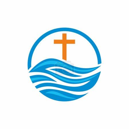 Logo church. Christian symbols. Waves, cross, streams of water alive.