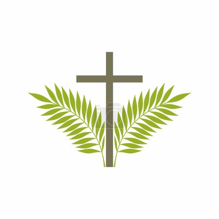 Church logo. Christian symbols. Cross and palm branches.
