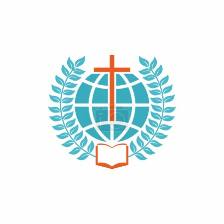 Church logo. Christian symbols. Cross, globe, open bible and laurel branches.