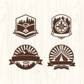 Christian summer camp badges logos and labels for any use on wooden background texture