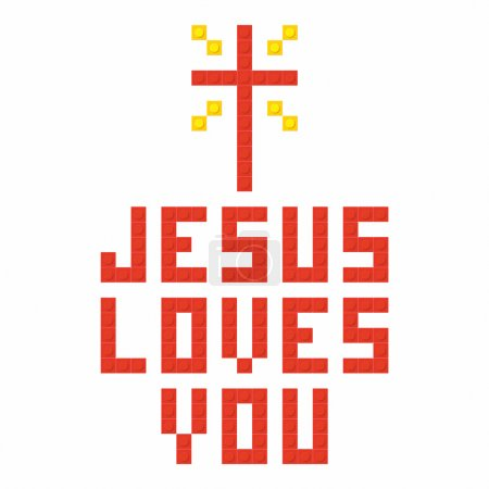 Christian art. Colorful interlocking plastic bricks, plastic construction. Jesus loves you.