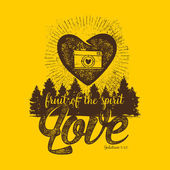 Biblical illustration Christian lettering Fruit of the spirit - love Galatians 5:22