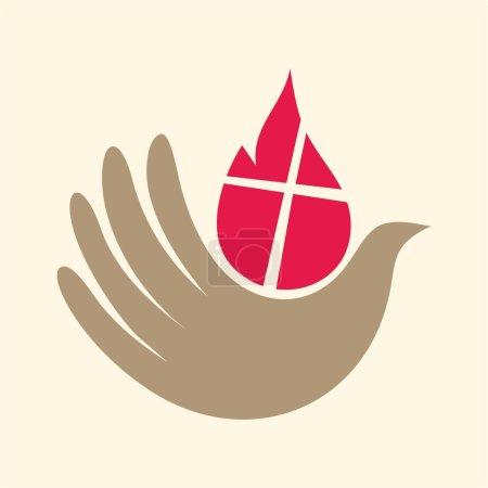 Dove, hand, flame, holy spirit, Pentecost, icon