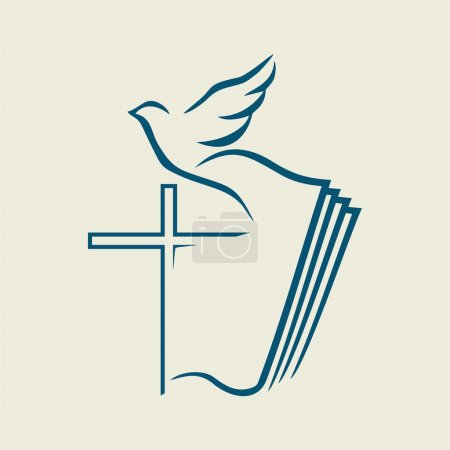 Holy spirit, cross, dove, Bible...