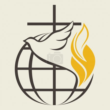 Globe, holy spirit, dove, cross, flame, Pentecost