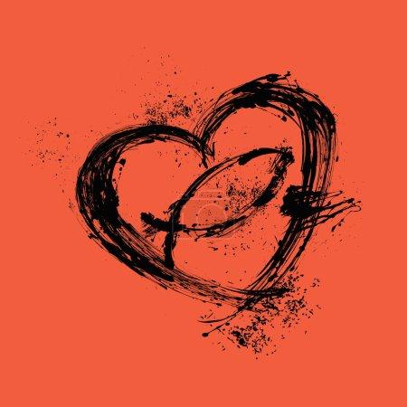 Brush strokes heart and cross