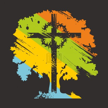 Cross, crown of thorns, on colorful tree