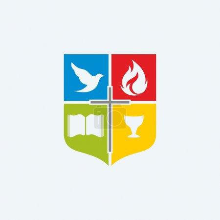 Church logo. Shield, cross, red, blue, red, green, color blocks, Bible, chalice, dove, flame
