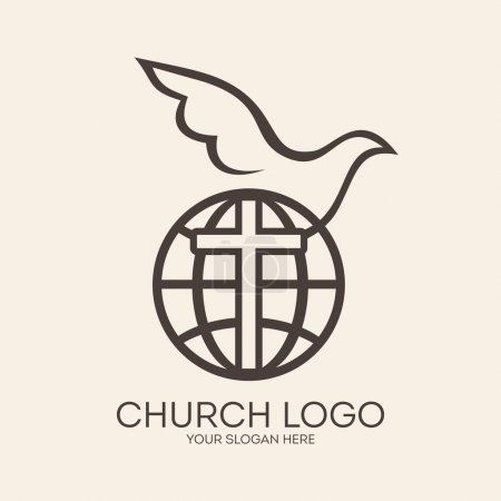 Church logo. Missions, globe, dove, cross, Christianity, icon