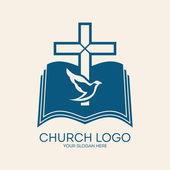 Církev logo. Kříž, holubice, Bible, náboženství, křesťanství, symbol, ikony, modré