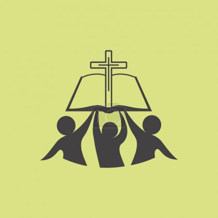 Church logo. Membership, bible, fellowship, people, silhouettes, cross, globe, icon, symbol