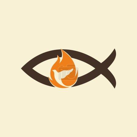 Church logo. Jesus fish, dove, flame, holy spirt, Jesus, Christian, symbol, icon