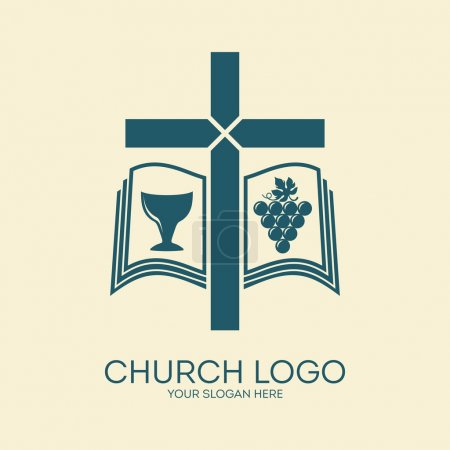 Church logo. Cross, bible, chalice, grapes, Christianity, icon
