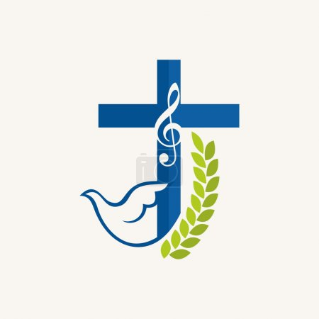 Church logo. Fig, dove, cross, music note, music, icon, blue