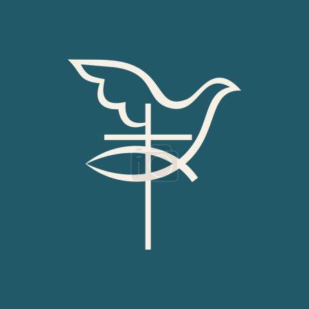Church logo. Cross, jesus fish, dove, icon...