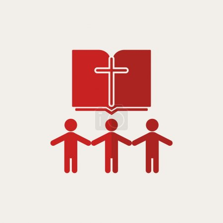 Church logo. People holding hands, group, Bible, cross, members, church, parishioners