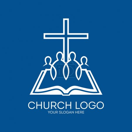 Church logo. United in Christ, group of people, bible, pages, cross
