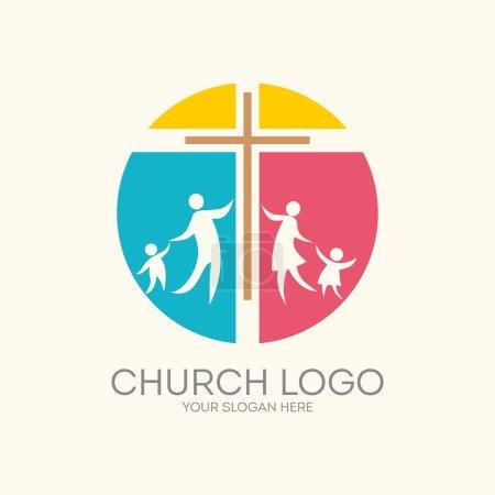 Church logo. Round, cross, family