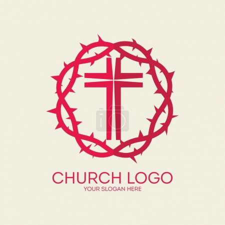 Church logo. Red, crown of thorns, cross, icon
