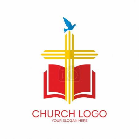 Church logo. Cross, Bible, dove, icon, red, yellow, blue