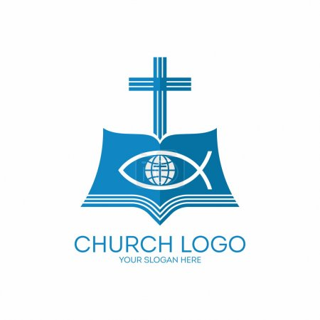 Church logo. Cross, Bible, jesus fish, globe, cross, missions, icon