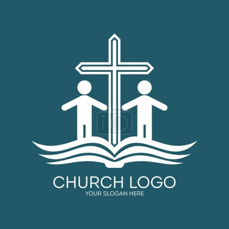 Church logo. People, Bible, membership, parishioners, cross, pages, icon