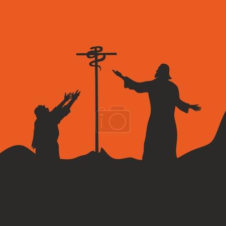Illustration pour Serpent sur la croix - image libre de droit