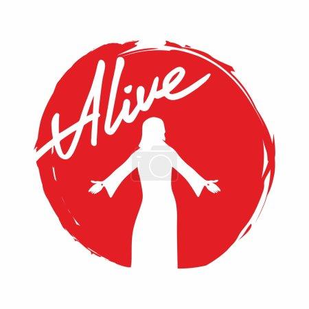 Alive, Jesus, silhouette, words, script, lettering, Easter