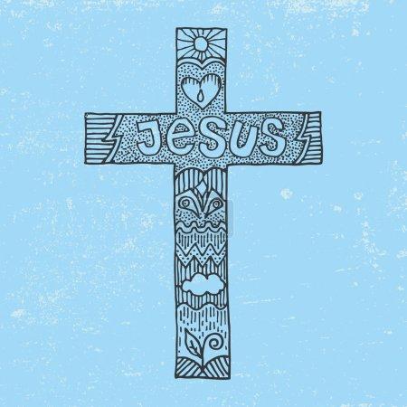 Word Jesus on a cross