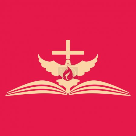 Church logo. Cross, open bible, dove and flame...