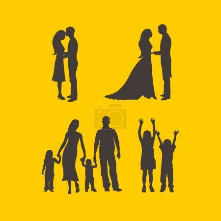 Couples, bride, groom, man, woman, family, silhouettes, mother, father, daughter, son, raised hands, boy, girl, love, parenting, romance, icons