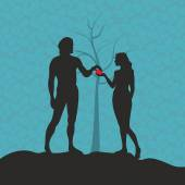 Adam and Eve Silhouette hand drawn