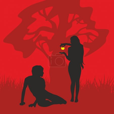 Adam and Eve. Silhouette, hand drawn