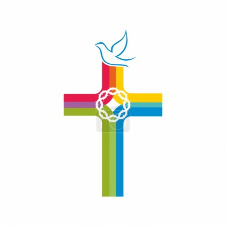Colorful cross, crown of thorns, icon