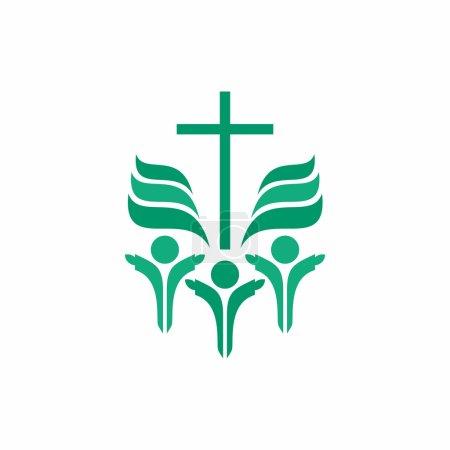 Illustration pour Culte de groupe, croix, adoration, louange, chœur, croix, mission, vert, icône - image libre de droit