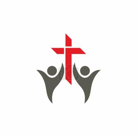 Illustration pour Mains levées, personnes, adoration, croix, missions, choeur, louange, icône - image libre de droit