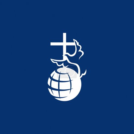 Dove, cross, globe, missions, icon