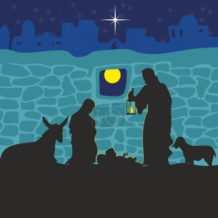 Greeting card with a Christmas story. Mary and Joseph with the baby Jesus in Bethlehem.