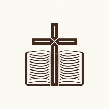 Logo of the church. The Cross and the open Bible.