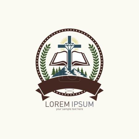 Church logo. Mountain, cross, diamond and open bible