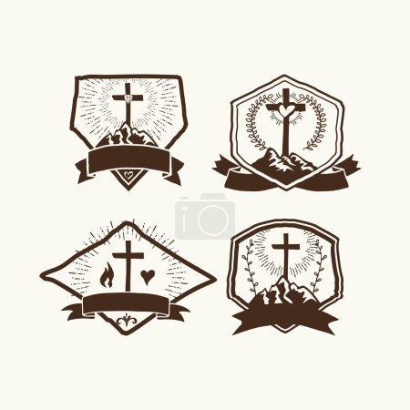Christian logos set. Church logo.