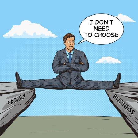 Illustration for Businessman sitting on split between rocks pop art style vector illustration. Human illustration. Comic book style imitation. Vintage retro style. Conceptual illustration - Royalty Free Image