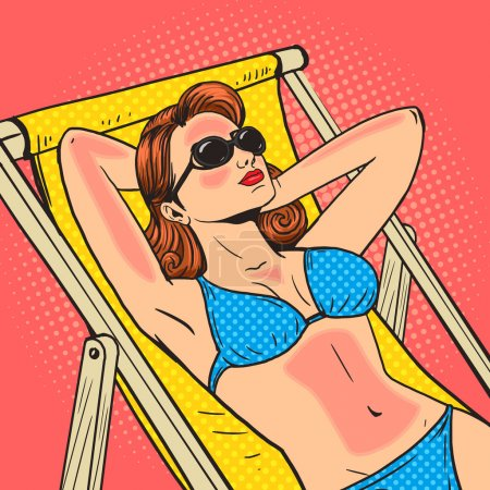 Woman got a sunburn pop art vector