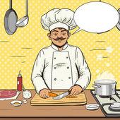 Chef cooks food pop art style vector illustration Human illustration Comic book style imitation Vintage retro style Conceptual illustration