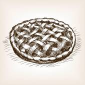 Pie sketch style vector illustration Old engraving imitation Sweet pie hand drawn sketch imitation